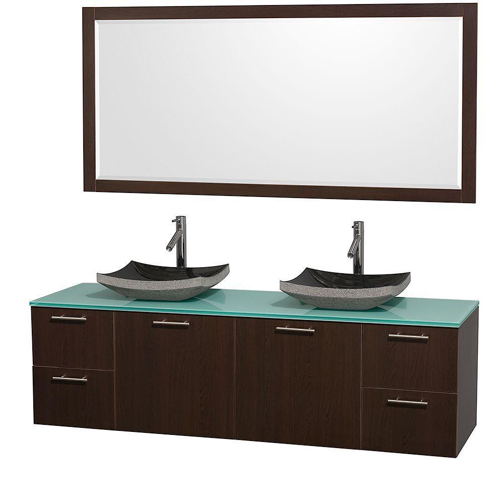 Amare 72 in. Double Vanity in Espresso with Glass Vanity Top in Aqua and Black Granite Sink