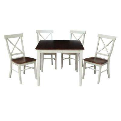 Dining Essentials 5-Piece Almond and Espresso Solid Wood Dining Set