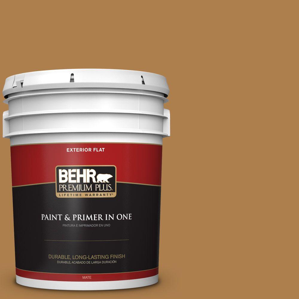 BEHR Premium Plus 5-gal. #PMD-106 Caramel Sauce Flat Exterior Paint