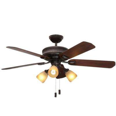 Ainsworth Gallery 54 in. Indoor Onyx Bengal Bronze Ceiling Fan with Light