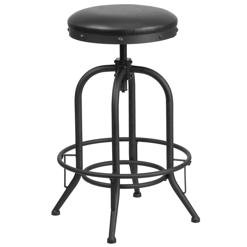 Flash Furniture Adjustable Height Black Powder Coat Swivel
