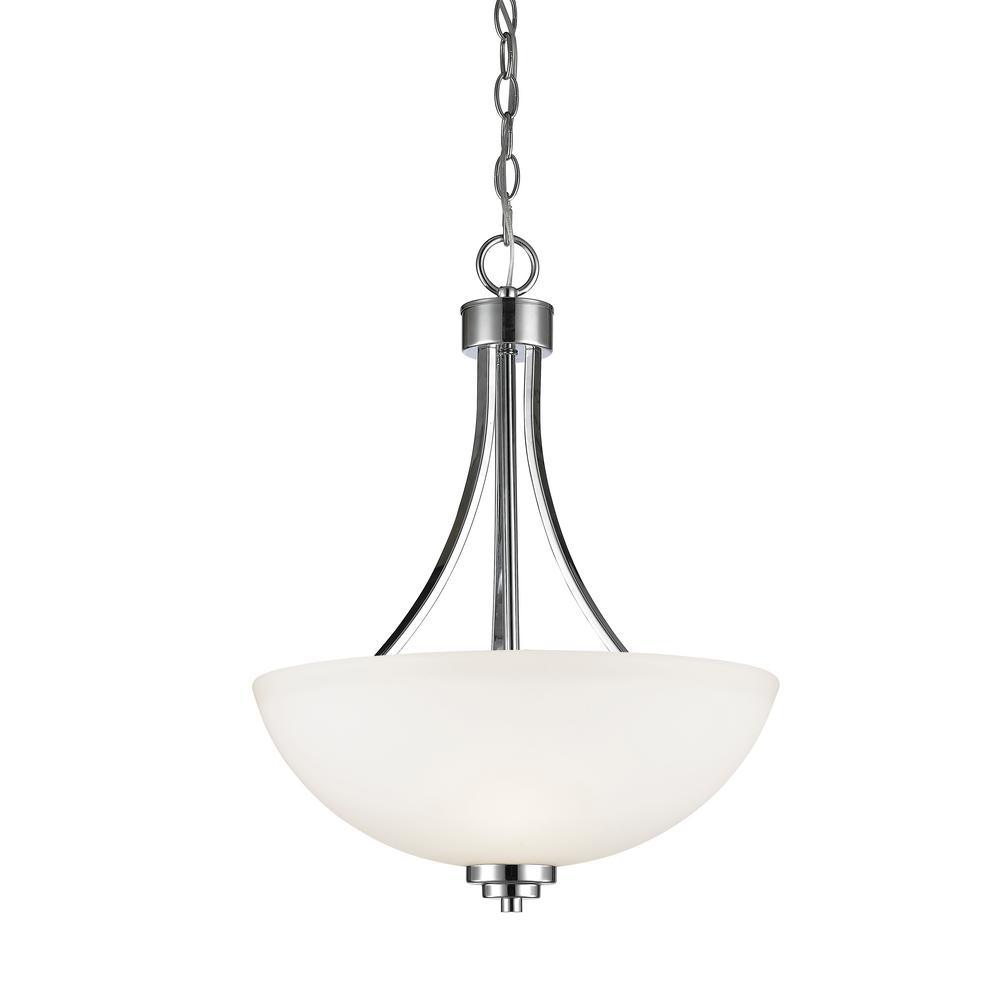 Filament Design Burren 3-Light Chrome Pendant with Matte Opal Glass Shade