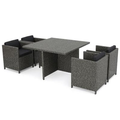 17-Piece Wicker Patio Conversation, Sectional, Lounge and Dining Set with Dark Gray Cushions
