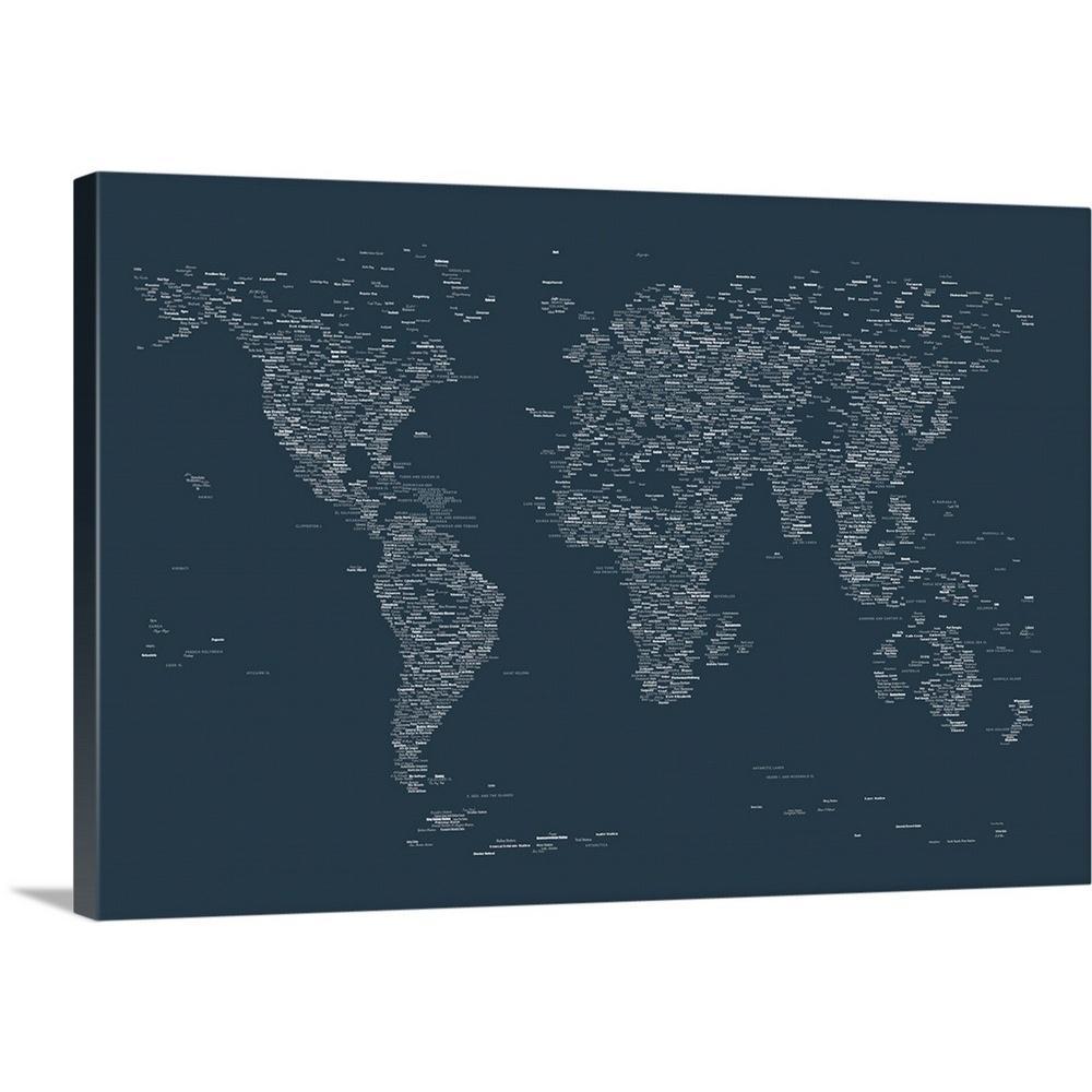 Greatbigcanvas City Names World Map By Michael Tompsett Canvas