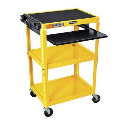 Adjustable Height 24 in. Steel A/V Cart with Pullout Tray in Yellow