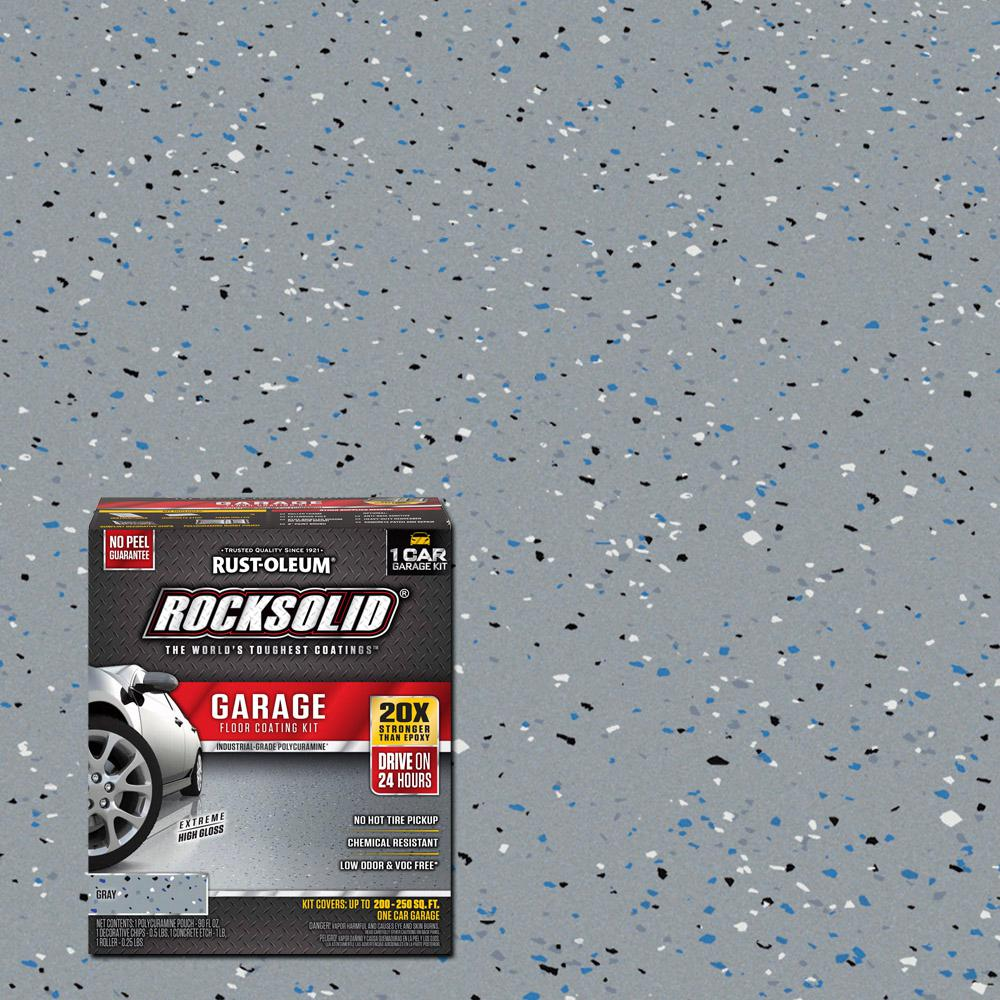 Rust Oleum Rocksolid 76 Oz Gray Polycuramine 1 Car Garage Floor Kit