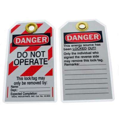 "Heavy-Duty Lockout Tag, ""Do Not Operate"" Striped (100-Box)"