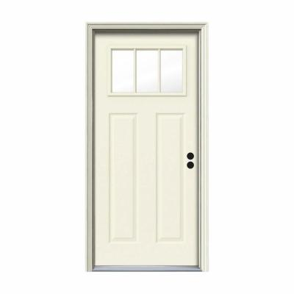 32 in. x 80 in. 3 Lite Craftsman Vanilla Painted Steel Prehung Left-Hand Inswing Front Door w/Brickmould