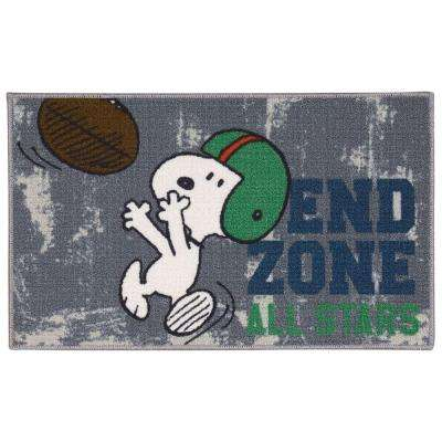 Friends End Zone Grey 2 ft. x 3 ft. Area Rug