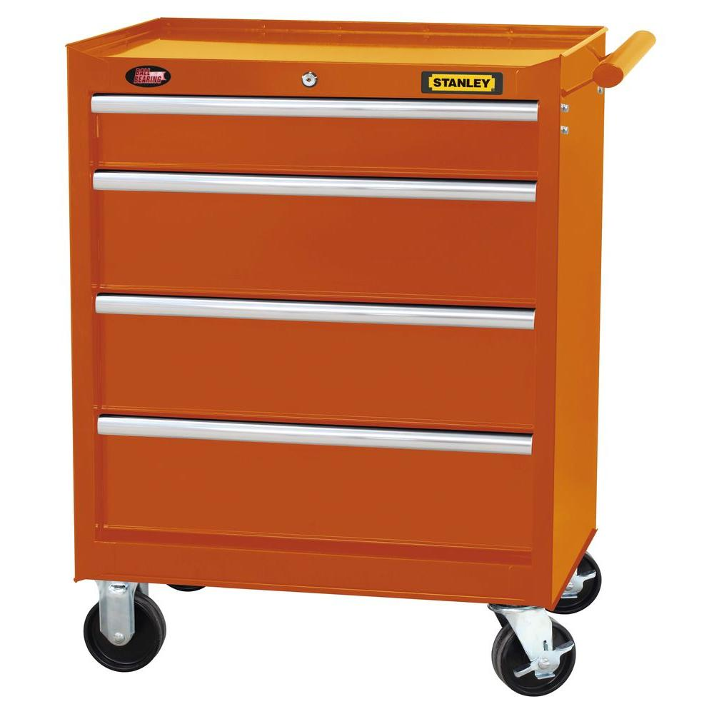 Stanley 27 in. 4-Drawer Tool Cabinet in Wide Orange