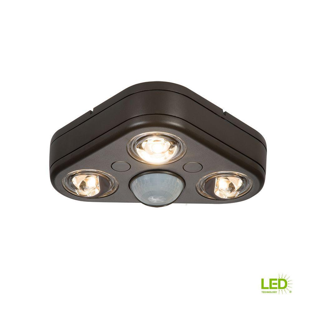 Revolve 270-Degree Bronze Triple Head Motion Activated Outdoor Integrated LED