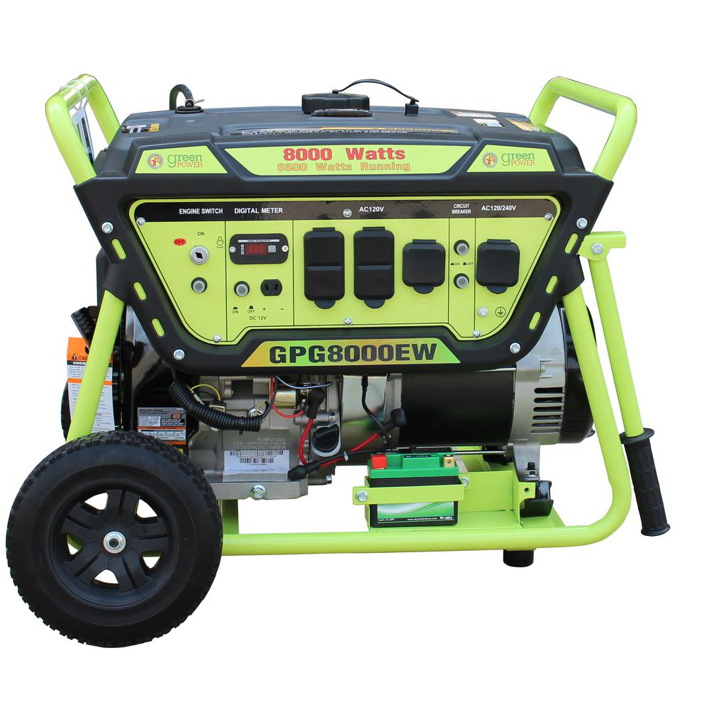 Green 8000 6500 Watt Gasoline Ed Electric Start Portable Generator W Lct 420cc 15hp Engine Lithium Battery