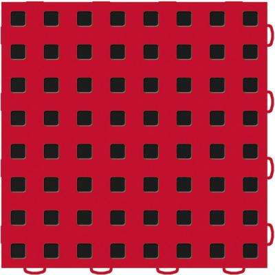 TechFloor 12 in. x 12 in. Red/Black Vinyl Flooring Tiles (Quantity of 10)