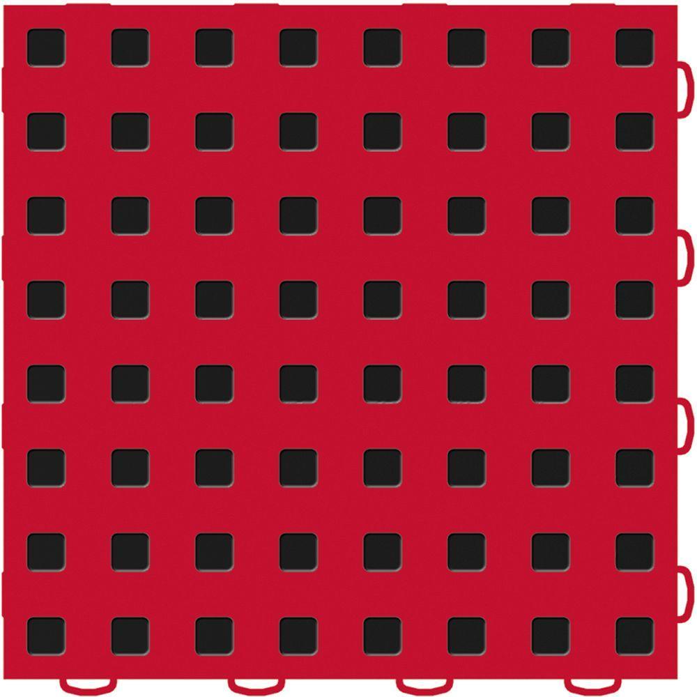 TechFloor 12 in. x 12 in. Red/Black Vinyl Flooring Tiles (Quantity of 10)