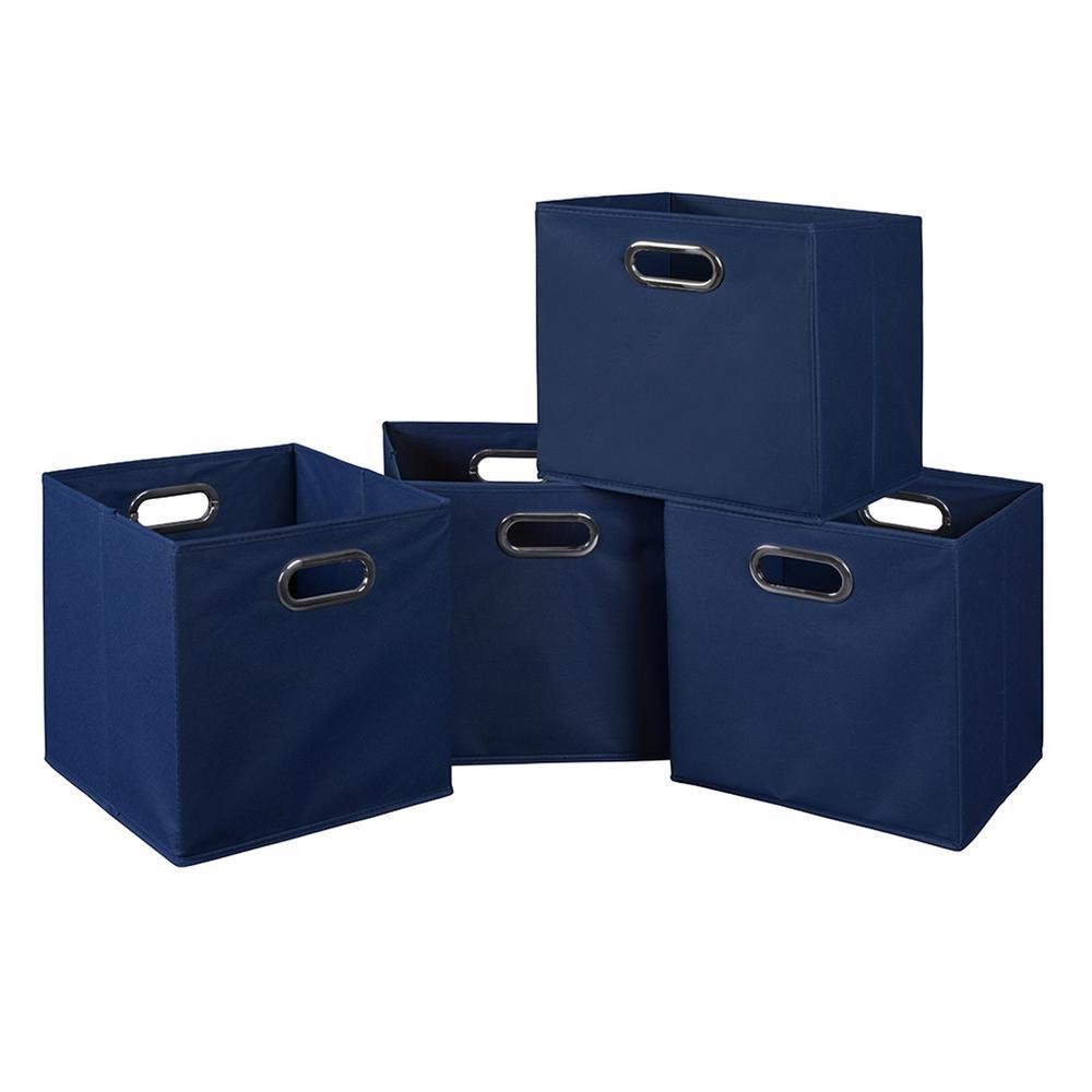 Cubo 12 in. x 12 in. Blue Foldable Fabric Bin (4-Pack)