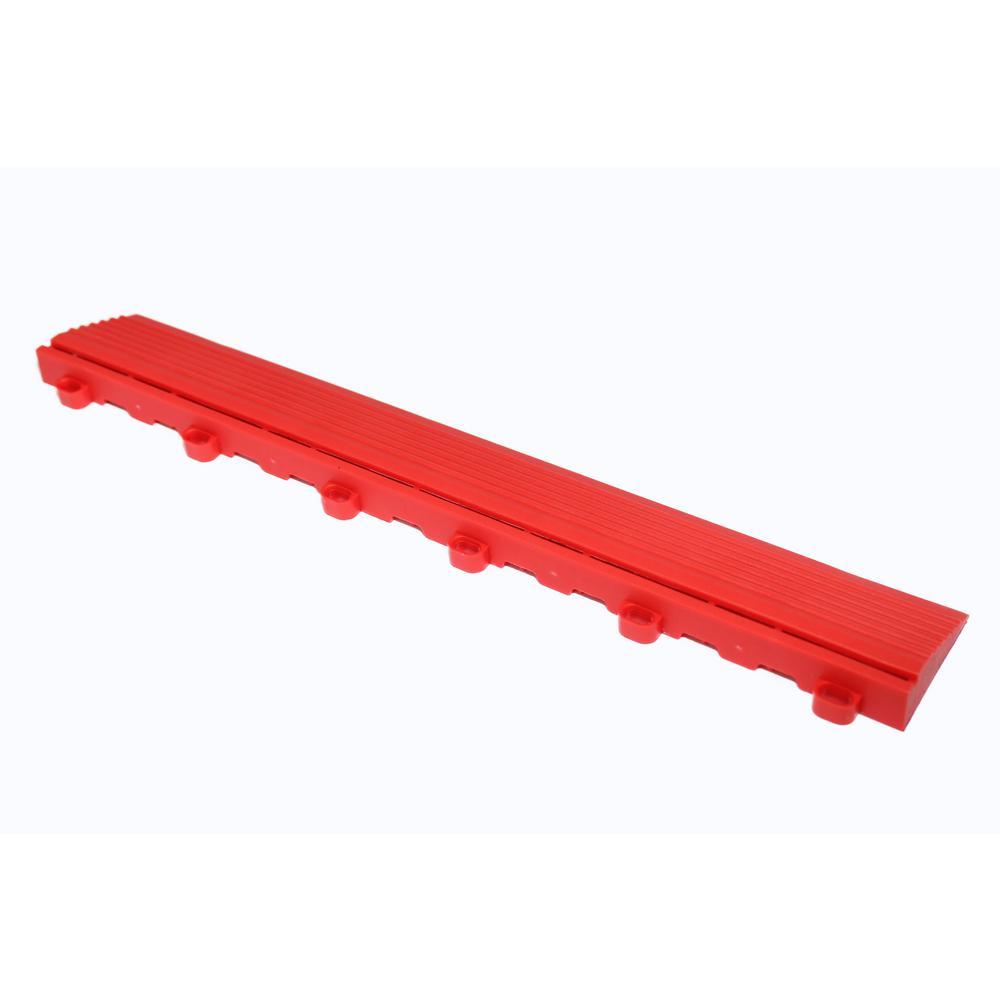15.75 in. Racing Red Looped Edging for 15.75 in. Swisstrax Modular Tile Flooring (2-Pack)