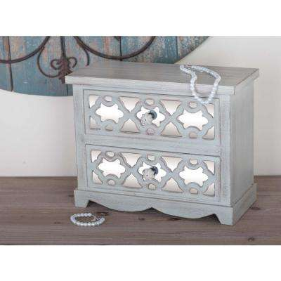 2-Drawer Wood Jewelry Chest in Lattice Patterns