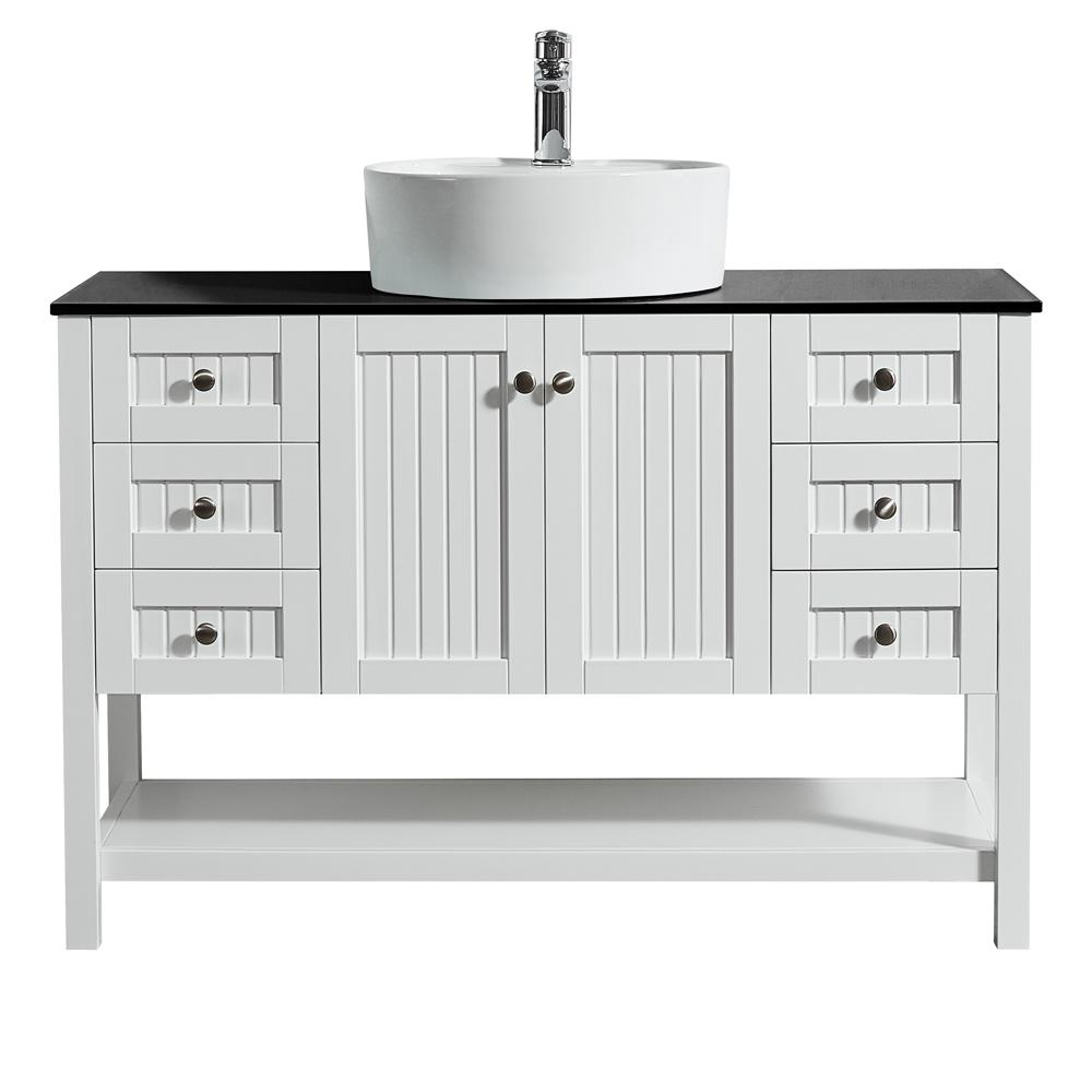ROSWELL Modena 48 in. W x 18 in. D Vanity in White with Glass Vanity Top in Black with White Basin