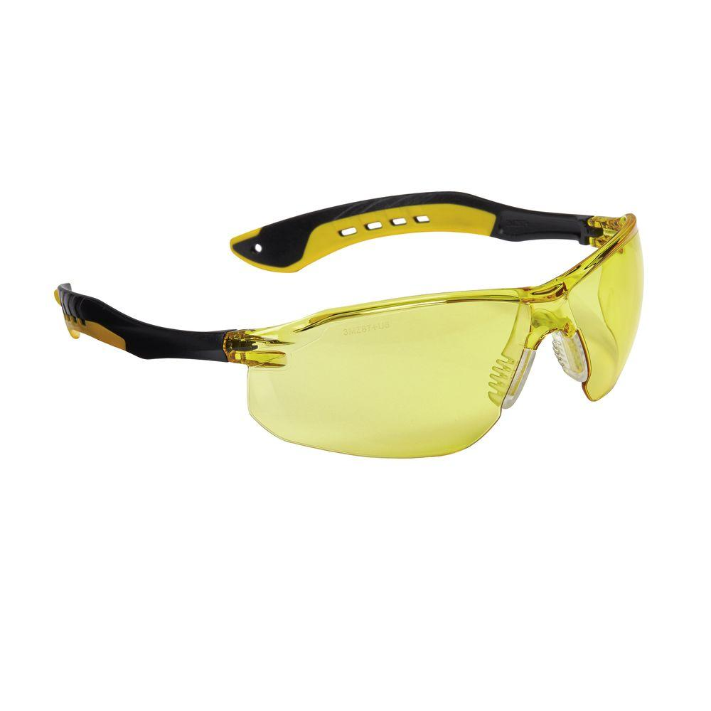 Black Flat Temple Frames with Amber Lenses Safety Glasses (Case of