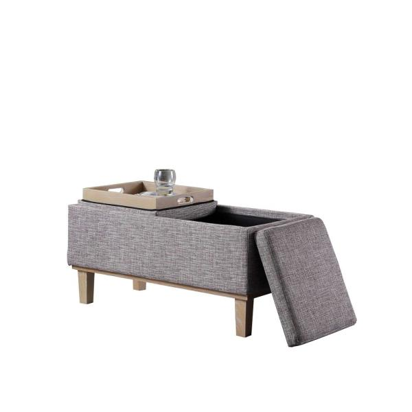 17 In Grey Seat Flip Storage Bench With Unfinished Legs Hb4756