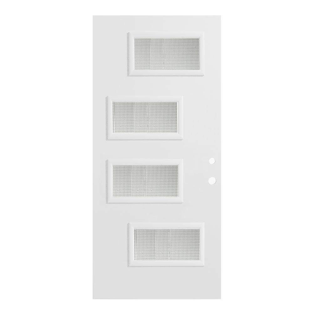 37.375 in. x 82.375 in. Beatrice Gingoshi 4 Lite Painted White Left-Hand Inswing Steel Prehung Front Door