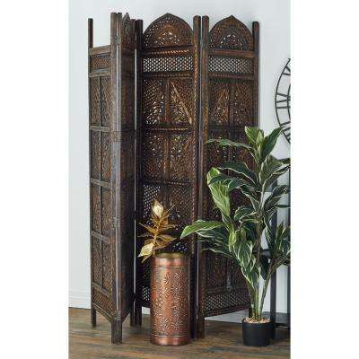6 ft. Ebony Wood Tone 4-Panel Room Divider