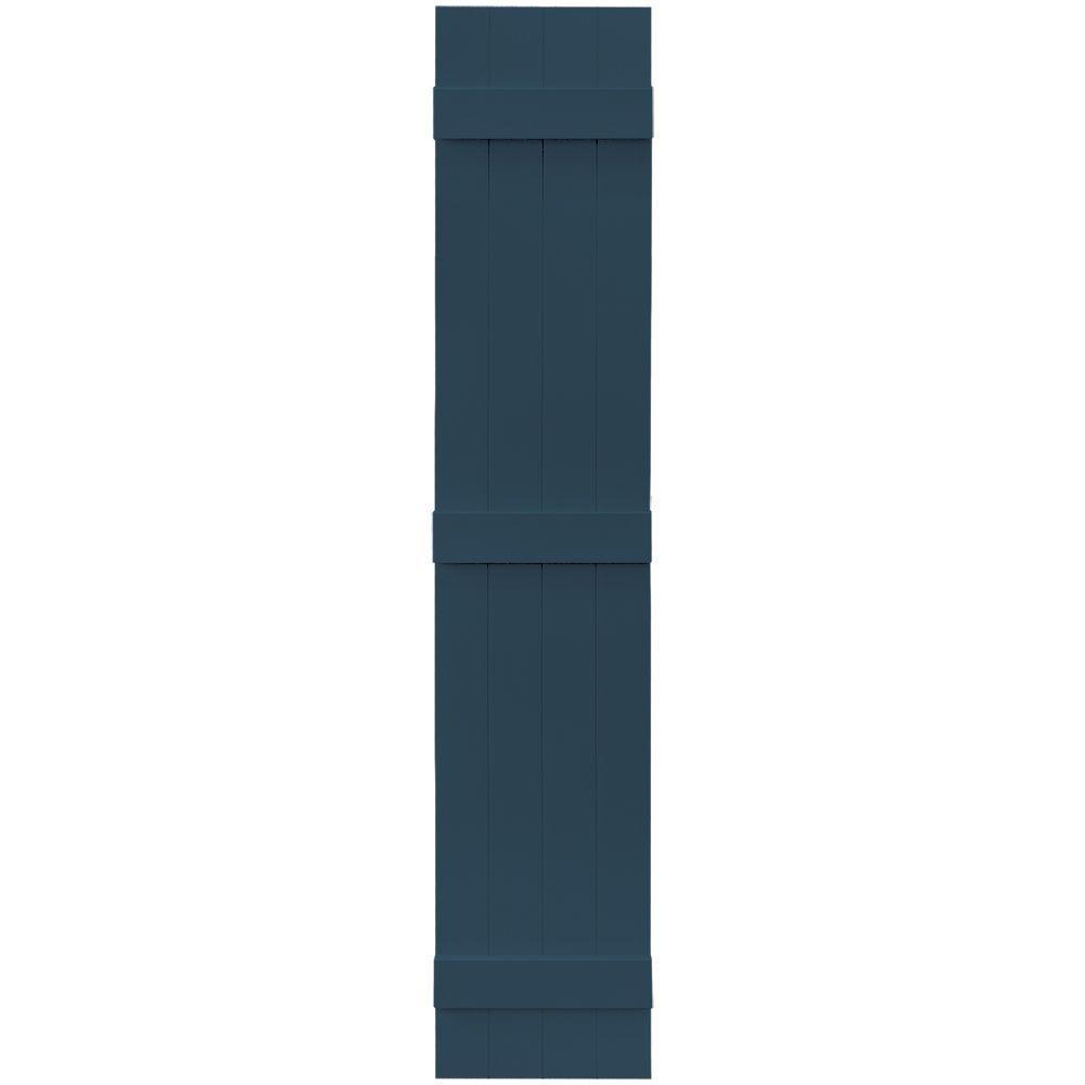 Builders Edge 14 in. x 75 in. Board-N-Batten Shutters Pair, 4 Boards Joined #036 Classic Blue