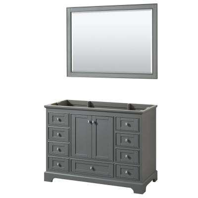 Deborah 47.25 in. W x 21.5 in. D Vanity Cabinet with 46 in. Mirror in Dark Gray