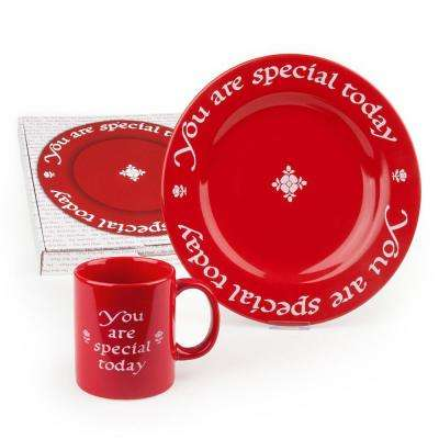 Waechtersbach 2-Piece You Are Special Today Red Ceramic Plate and Mug Set