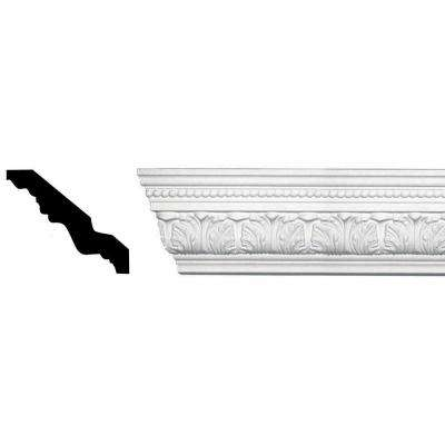 3-3/4 in. x 4-3/4 in. x 94-1/2 in. Acanthus and Dots Polyurethane Crown Moulding