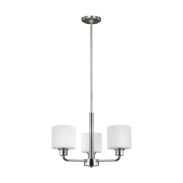 Canfield 3-Light Brushed Nickel Chandelier