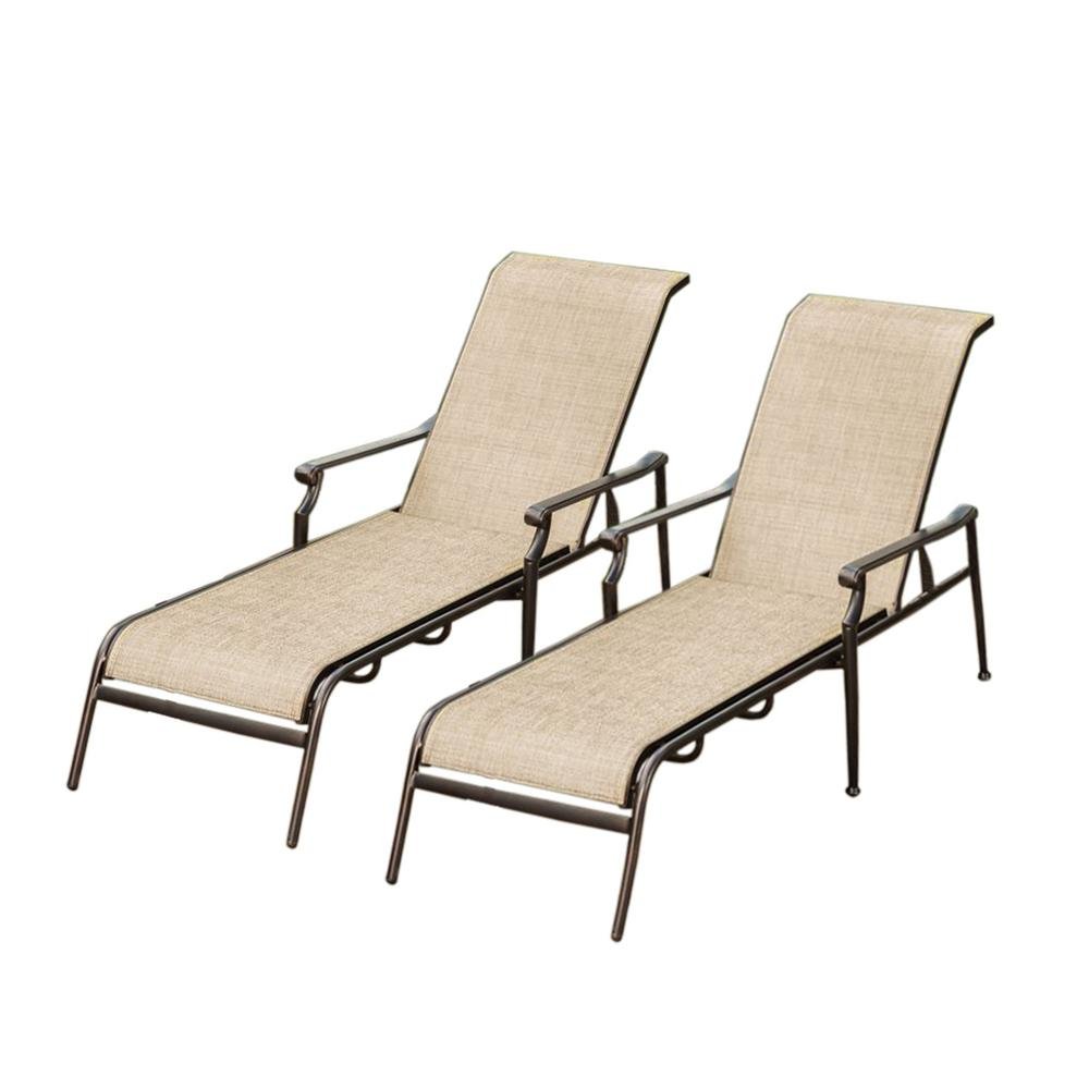 bali sling aluminum metal outdoor indoor pair chaise lounges in bronze black mesh layer not cushion - Chaise Metal