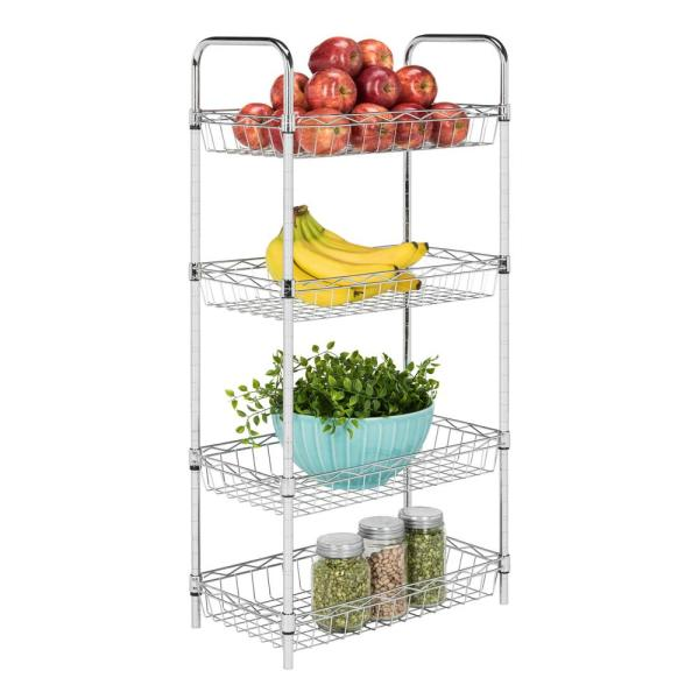 happimess Laura 37.5 in. Chrome 4-Tier Adjustable Basket Storage Rack