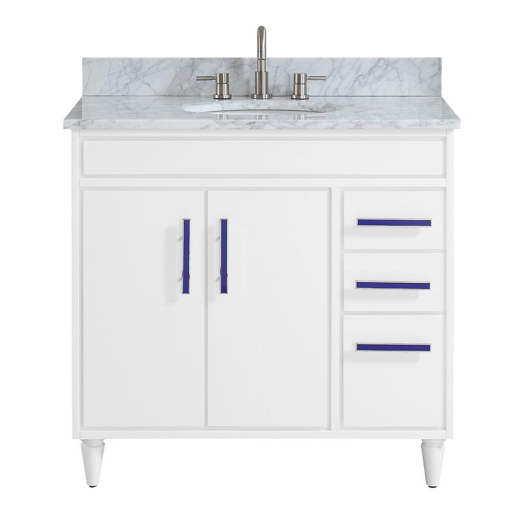 Avanity Layla 37 in. W x 22 in. D x 35 in. H Bath Vanity in White with Marble Vanity Top in Carrara White with Basin