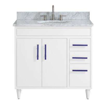Layla 37 in. W x 22 in. D x 35 in. H Bath Vanity in White with Marble Vanity Top in Carrara White with Basin