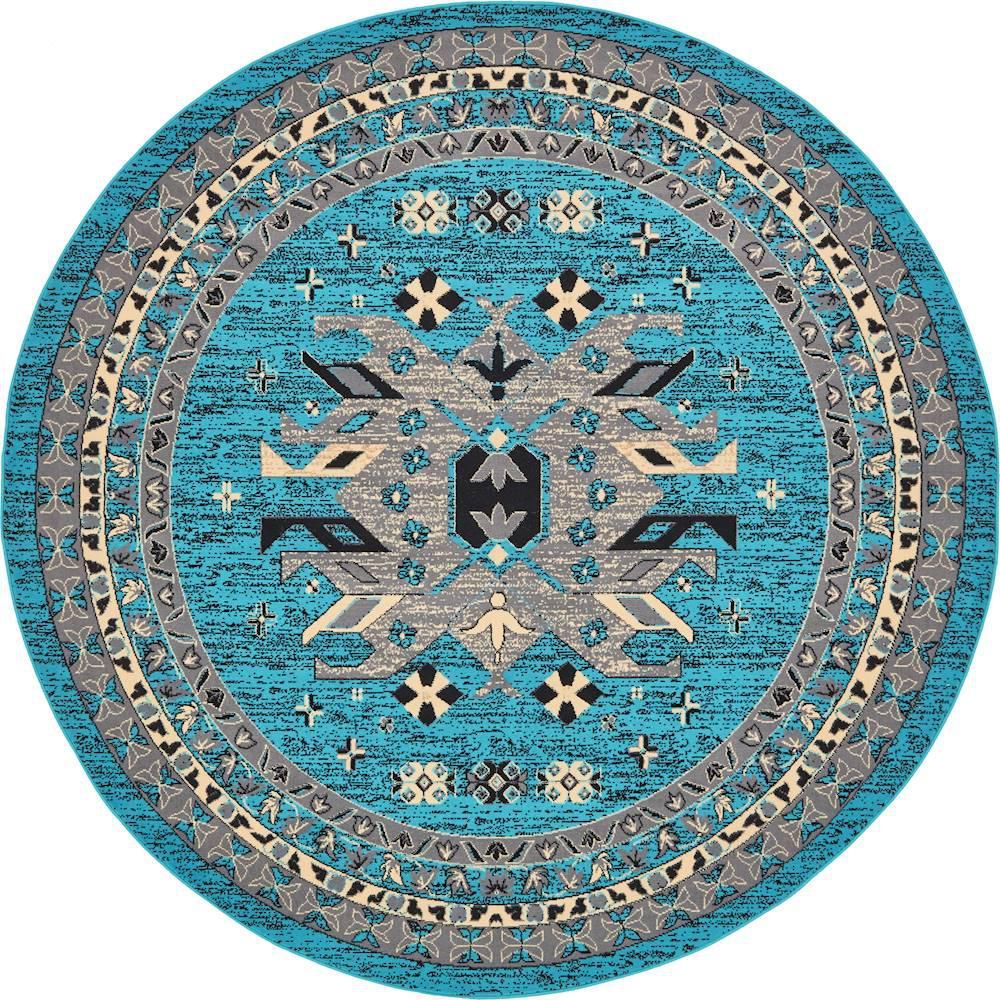 Taftan Oasis Turquoise 8' 0 x 8' 0 Round Rug