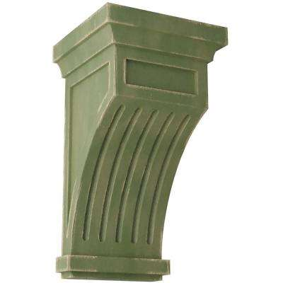 5-1/2 in. x 10 in. x 5-1/2 in. Restoration Green Fluted Wood Vintage Decor Corbel