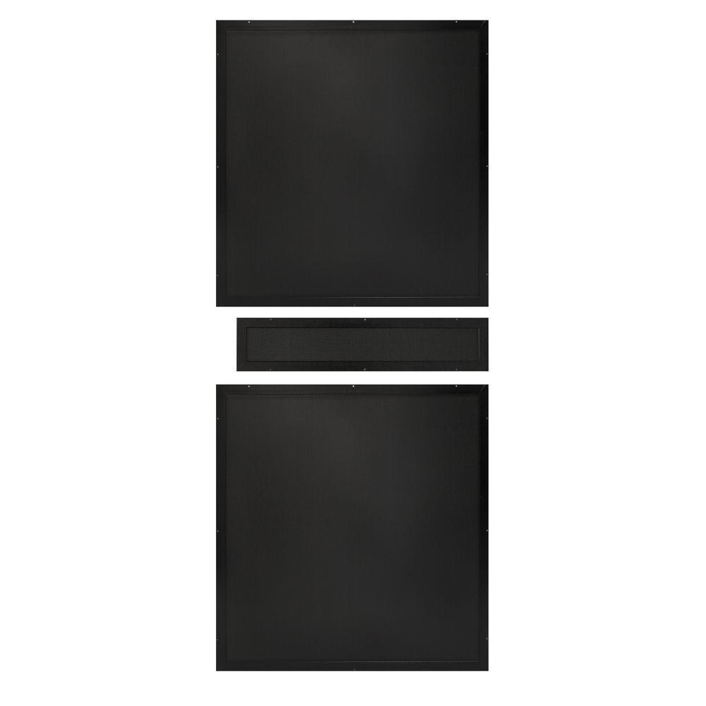 Unique Home Designs 36 in. x 80 in. Black Perforated Rust-Free Aluminum Screen Inserts for Premium Steel Security Picket Doors (3-Piece)