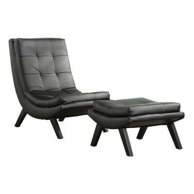Tustin Black Lounge Chair and Ottoman Set