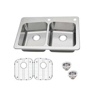 Dual Mount 18-Gauge Stainless Steel 33 in. 2-Hole 50/50 Double Bowl Kitchen Sink with Grid and Drain Assemblies