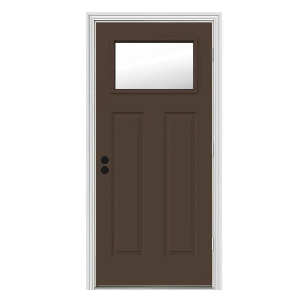 Jeld wen 34 in x 80 in 1 lite craftsman dark chocolate painted steel prehung left hand for Prehung outswing exterior door