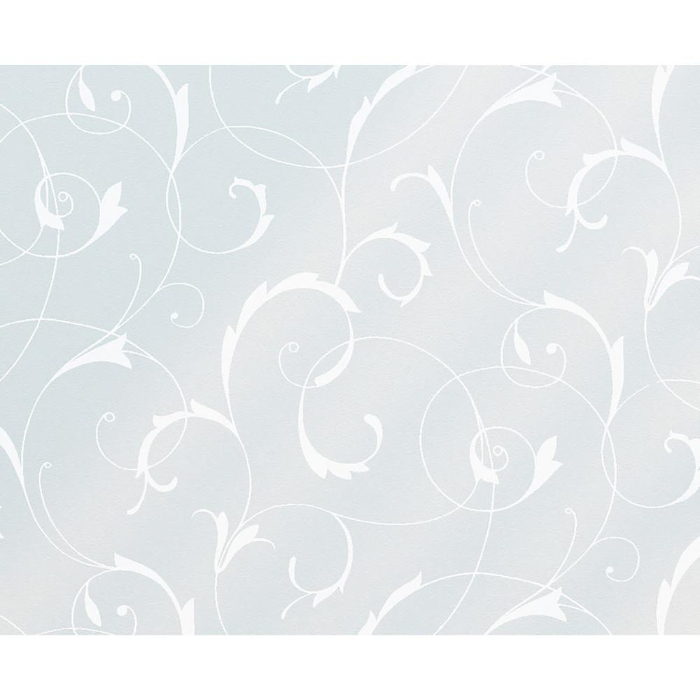 Fablon 59 in. x 26.57 in. Scroll Flower Static Window Film This elegant floral scroll static cling is a wonderful addition to any plain glass surface. Add a beautiful design to your shower screen, or create some privacy by applying to your bathroom window. Static cling window film is easy to apply and remove- simply cut to size, spray water on to the window, and squeegee into position. Just peel off when you want to change your design. The Scroll Flower Window Static Cling comes on a 26.57 in. x 59 in. roll and can be cut to fit any area.