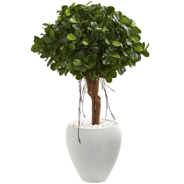 Nearly Natural Indoor 39-In. Ficus Artificial Tree in White Planter 9066