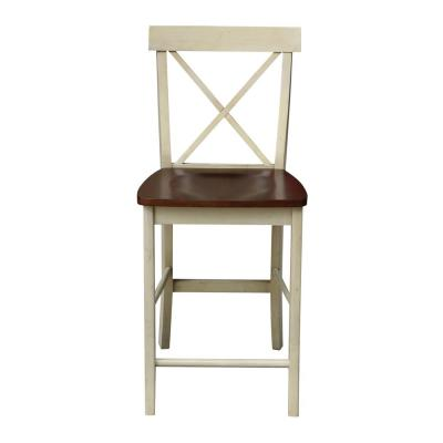 X Back 24 in. Almond and Espresso Bar Stool