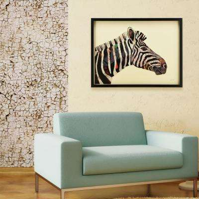 """25 in. x 33 in. """"Zebra"""" Dimensional Collage Framed Graphic Art Under Glass Wall Art"""