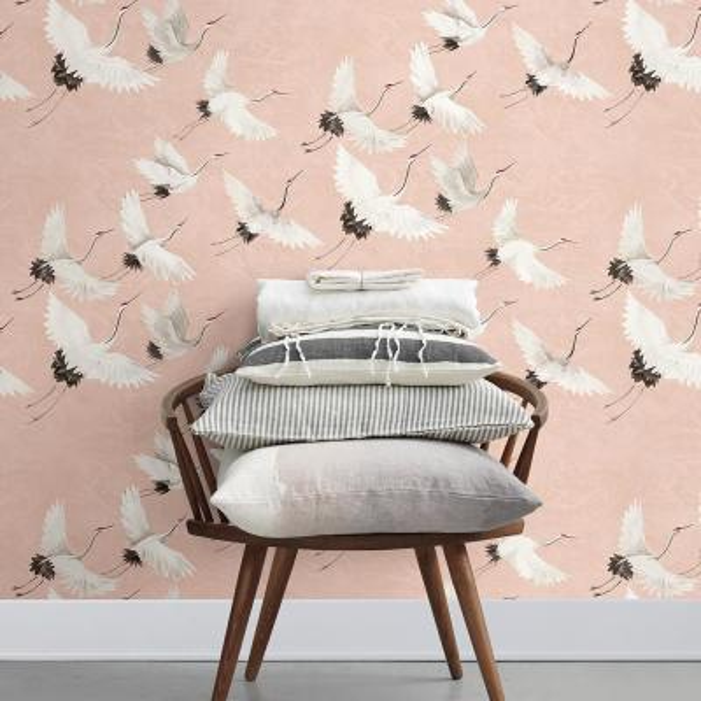 56.4 sq. ft. Windsong Pink Crane Wallpaper