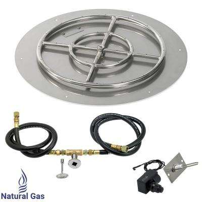 24 in. Round Stainless Steel Flat Pan with Spark Ignition Kit - Natural Gas (18 in. Ring Burner Included)