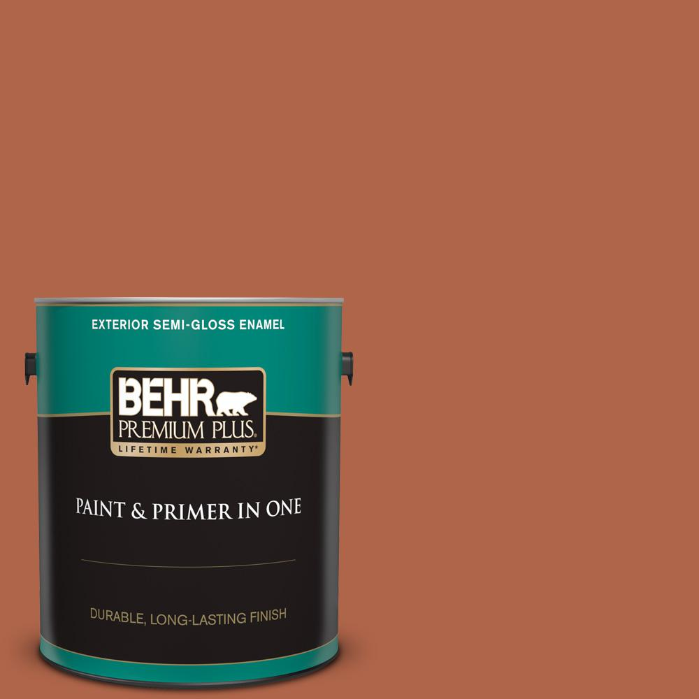 Behr Premium Plus 1 Gal M200 7 Rusty Gate Semi Gloss Enamel Exterior Paint And Primer In One 534001 The Home Depot