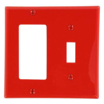 2-Gang Standard Size 1-Toggle 1-Decora Nylon Combination Wall Plate, Red