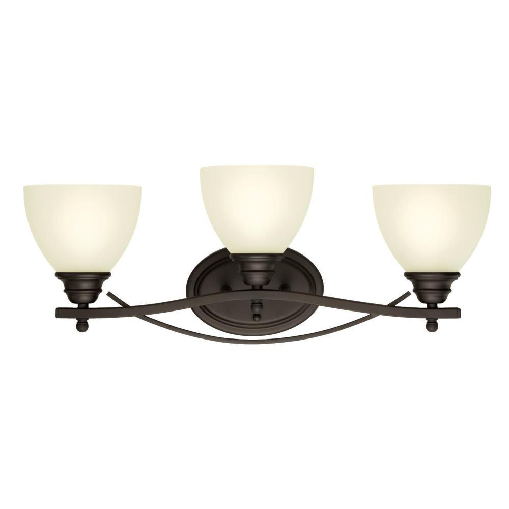 Westinghouse elvaston 3 light oil rubbed bronze wall mount - Bathroom lighting oil rubbed bronze ...